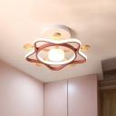 Star Iron Semi Flush Kids Pink/Blue LED Flush Mount Lighting Fixture in Warm/White Light for Bedroom