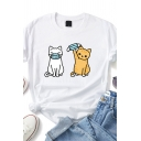 Leisure Womens Cartoon Cat Printed Roll-up Sleeves Crew Neck Slim Fit T Shirt