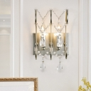 Silver 2 Lights Wall Lighting Contemporary Crystal Bare Bulb Sconce Light Fixture
