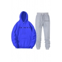 Cool Girls Letter Friends Printed Long Sleeves Drawstring Kangaroo Pocket Loose Hoodie & Ankle Relaxed Fit Sweatpants