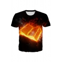 Flame Book 3D Printed Short Sleeve Crew Neck Loose Fit Stylish T Shirt for Men