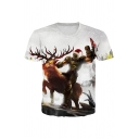 Guys Soider Horse 3D Printed Short Sleeve Crew Neck Slim Fitted Popular T Shirt in White