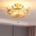 5-Light Crystal Semi Flush Mount Vintage Brass Basket Dining Room Close to Ceiling Lamp with Ball Finial