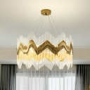 Strip Crystal Wave Pendant Chandelier Modern Style 8 Lights Living Room Suspension Lamp in Brass