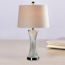 Clear Ribbed Glass Hourglass Table Lamp Modern Single-Bulb Night Stand Light with Fabric Shade