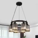 Crystal Prism Scroll Pendant Chandelier Modernism 6/8-Bulb Bedroom Suspension Light in Black