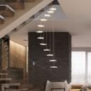 Vertical Star Cluster Pendant Light Modernist Acrylic 12/18 Bulbs White Suspension Lighting with Height Adjustable Design