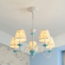Pastoral Cone Pendant Chandelier 5 Heads Fabric Ceiling Light in Blue with Floral Pattern