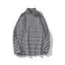 Casual Mens Striped Printed Long Sleeve Turtle Neck Regular Fitted T-Shirt