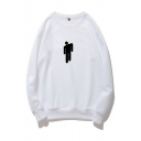 Simple Mens Character Printed Long Sleeve Crew Neck Regular Fitted Graphic Pullover Sweatshirt