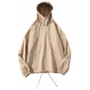Trendy Mens Solid Color Pocket Drawstring Long Sleeve Loose Fitted Hoodie
