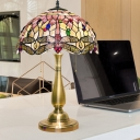 Dragonfly Shell Desk Lighting Baroque 2 Lights Gold Finish Night Lamp with Pull Chain