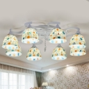 8 Heads Living Room Ceiling Lamp Victorian White Mosaic Patterned Semi Flush Mount with Dome Shell Shade