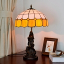1 Light Table Light Tiffany Style Grid Patterned Orange and White Glass Nightstand Lamp with Goddess Design