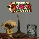 Bronze 1 Light Night Table Lamp Victorian Stained Glass Rollover Shade Flower Patterned Desk Lighting with Pull Chain