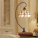 Black 1 Head Night Table Light Tiffany Beige/Silver Glass Lattice Bowl Nightstand Lighting with Gem Pattern