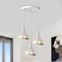 Simple 3-Light Suspension Light White Teardrop Crystal Cluster Pendant Lighting with Metal Shade