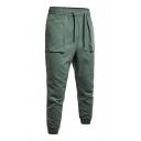 Popular Mens Plain Pocket Drawstring Cuffed Mid Rise Slim Fit Ankle Length Joggers