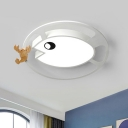 Kids Style Fish and Shrimp Flush Light Acrylic Bedroom LED Ceiling Mount Fixture in Grey/White/Green and Wood