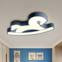 Blue/Pink Horse Seesaw Ceiling Light Cartoon Acrylic LED Flush Mount Lamp for Kindergarten