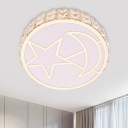 White LED Flushmount Light Modern Crystal Encrusted Round Ceiling Fixture with Moon-Star Pattern