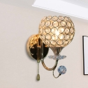 Gold 1 Head Wall Mounted Light Simple Crystal Hemispherical Sconce Lamp with Pull Chain