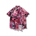 Fashionable Mens Allover Abstract Printed Chest Pocket Short Sleeve Point Collar Button down Curved Hem Oversize Shirt in Rose Red