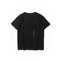 Chic Mens Solid Color Short Sleeve Crew Neck Panel Straps Loose Fit T Shirt