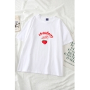 Chic Girls Letter Strawberry Graphic Short Sleeve Crew Neck Loos T Shirt