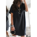 Simple Womens Solid Color Rolled Short Sleeves Turn-down Collar Button up Chest Pockets Midi Relaxed Shift Shirt Dress in Black