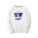 Letter Yeah Printed Long Sleeve Crew Neck Loose Fit Street Pullover Sweatshirt for Guys