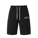 Popular Guys Letter How You Doin Printed Drawstring Waist Slim Fit Shorts