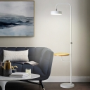 Swivel Round Shade Iron Reading Floor Lamp Simplicity White Floor Standing Light with Wood Side Table