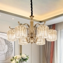 6 Lights Cylindrical Chandelier Modernist Clear Prismatic Crystal Pendant Ceiling Light