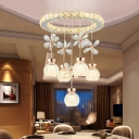 Crystal Floral Cluster Pendant Contemporary Dining Room LED Hanging Lamp with Dome Shade and Ring Top in Chrome