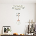 Dome Clear Crystal Drop Pendant Modern Dining Table LED Suspension Light with Flower and Ring Top