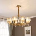 8-Light Chandelier Pendant Light with Cylinder Shade Crystal Rectangle Post Modern Living Room Hanging Lamp
