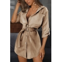 Trendy Ladies Solid Color 3/4 Sleeves Turn-down Collar Button down Chest Pocket Buckle Belt Mini A-line Shirt Dress