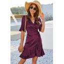 Elegant Ladies Solid Color Bell Sleeves Surplice Neck Ruffled Trim Bow Tie Waist Mini A-line Wrap Dress
