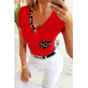 Trendy Womens Leopard Printed Panel Pocket Short Sleeve V-neck Regular Fit T Shirt