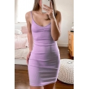 Sexy Ladies Solid Color Purple Spaghetti Straps Ruched Knitted Short Fitted Cami Dress