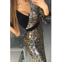Glamorous Womens Sequins Patchwork Single Sleeve Surplice Neck Short Fitted Dress in Black