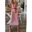 Popular Womens Allover Cactus Printed V-neck Button up Belted Midi Shift Dress in Pink