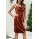 Sexy Brown Velvet Spaghetti Straps Cowl Neck Mid Shift Cami Dress for Girls