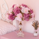Rose Blossom Bedroom Table Lamp Korean Pastoral Fabric Single Purple Night Light with K9 Crystal Base
