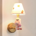 Cartoon 1-Light Sconce Lighting Pink/Blue Cute Sleeping Horse Wall Mounted Lamp with Conic Fabric Shade