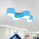 Acrylic Curve Flush Ceiling Light Kids Red/Yellow/Blue LED Flush Mount Recessed Lighting for Bedroom