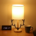 Nordic Barrel Shade Table Lamp Fabric 1 Bulb Bedroom Nightstand Light with Antler Ornament in Black-Wood