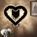 Heart-Shaped Bedroom Wall Lamp Modernist K9 Crystal LED Black Wall Mounted Lighting
