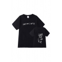 Chic Letter Look Mom I Can Fly Print Short Sleeve Crew Neck Loose T-shirt for Boys